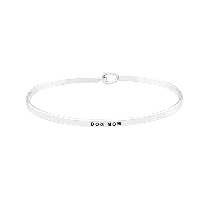 "Silver ""DOG MOM"" Bangle"