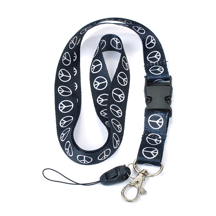 black and white peace sign fabric lanyard necklace with quick release and id/badge/card holder