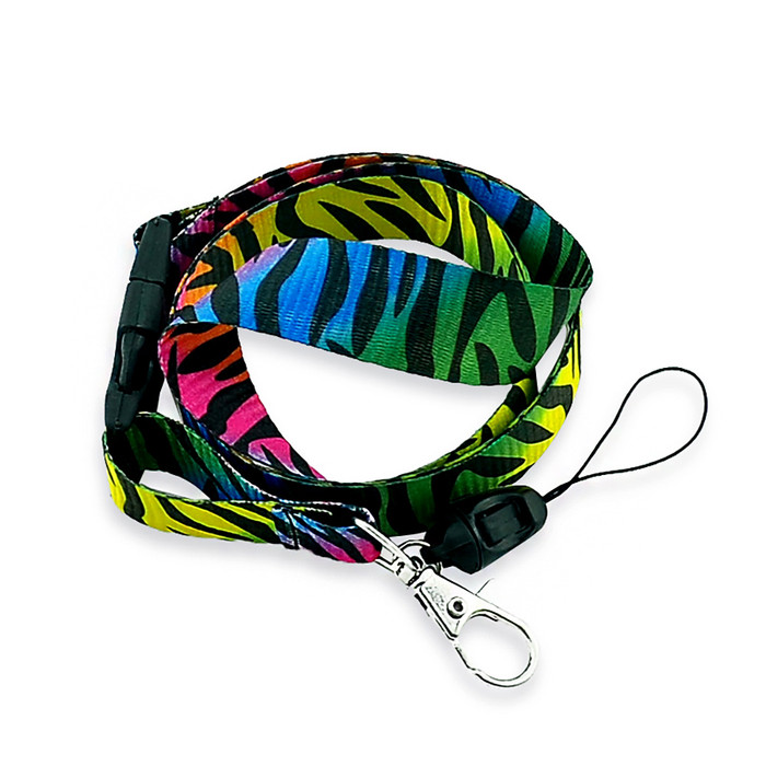 black & rainbow zebra/tiger stripe fabric lanyard necklace with quick release and id/badge/card holder