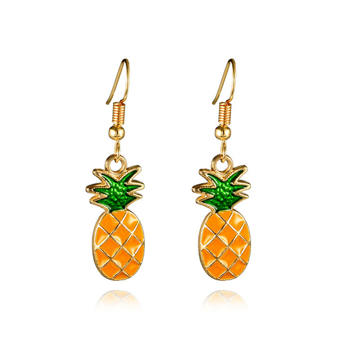 enameled golden pineapple drop earrings