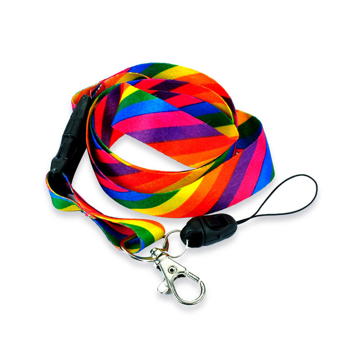 Diagonal Rainbow Striped Fabric Lanyard with Quick Release and ID/Badge/Card Holder (+Bonus Pouch)