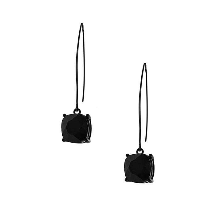 black-on-black cushion-cut solitaire crystal long-hook drop earrings