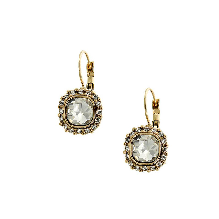 gold and clear crystal bezeled leverback earrings