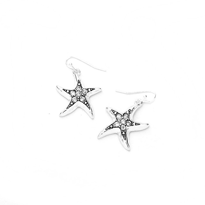 bejeweled silver starfish earrings