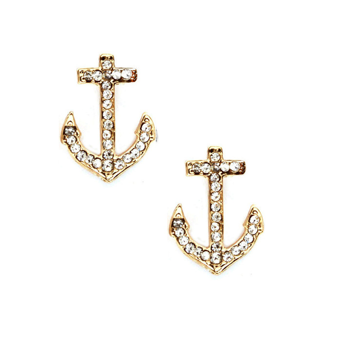 golden crystal anchor post earrings