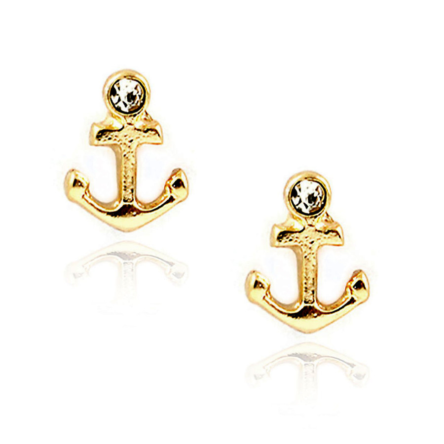 miniature golden anchor post earrings with crystal detail