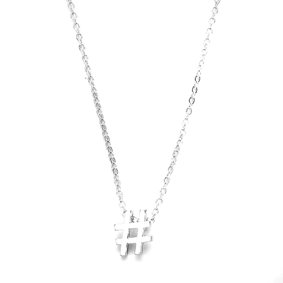 silver hashtag necklace