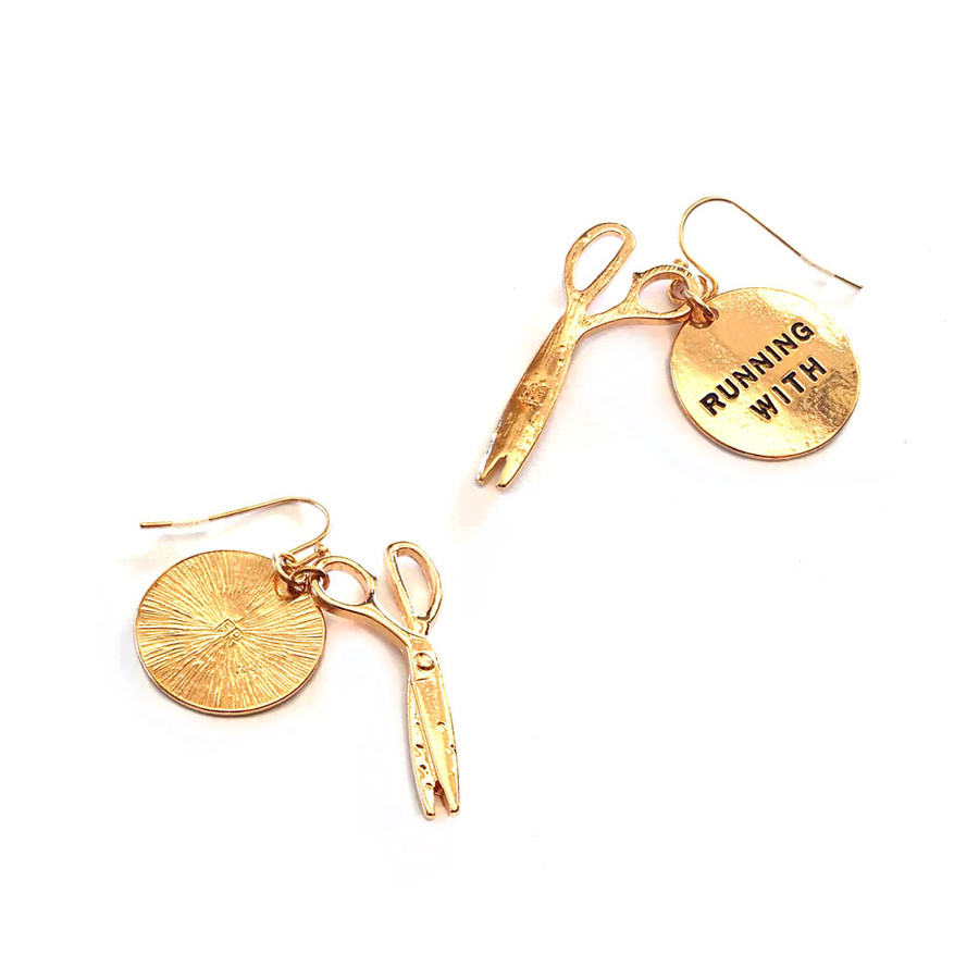 golden 'running with scissors' earrings