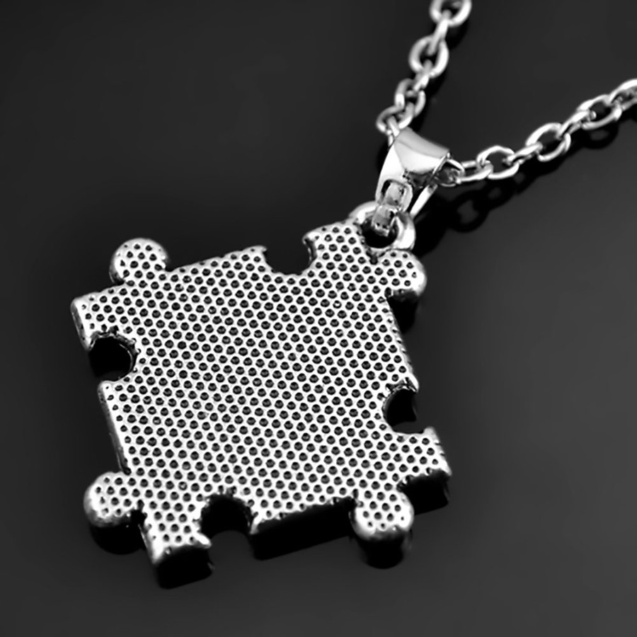 color crystal puzzle piece autism awareness necklace