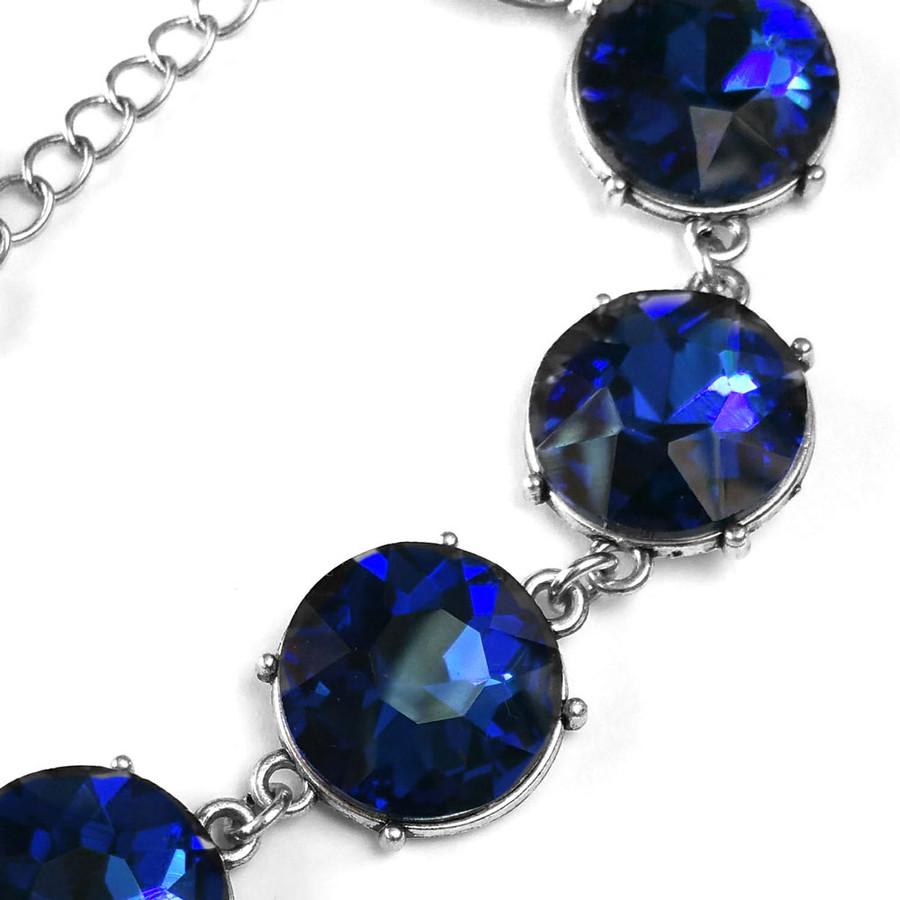 vibrant blue 7-crystal bracelet