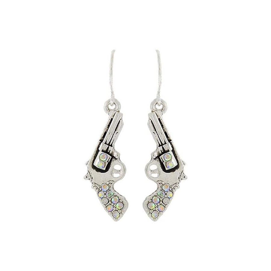 bejeweled silver revolver drop earrings with aurora borealis crystals