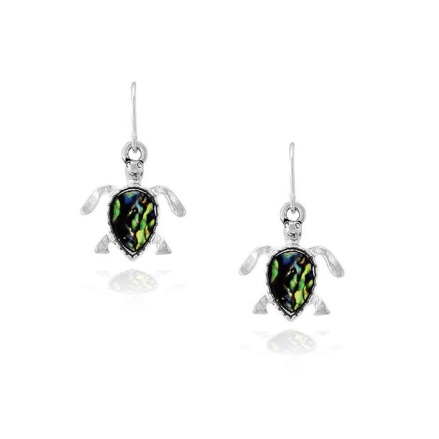 mini silver and abalone sea turtle drop earrings