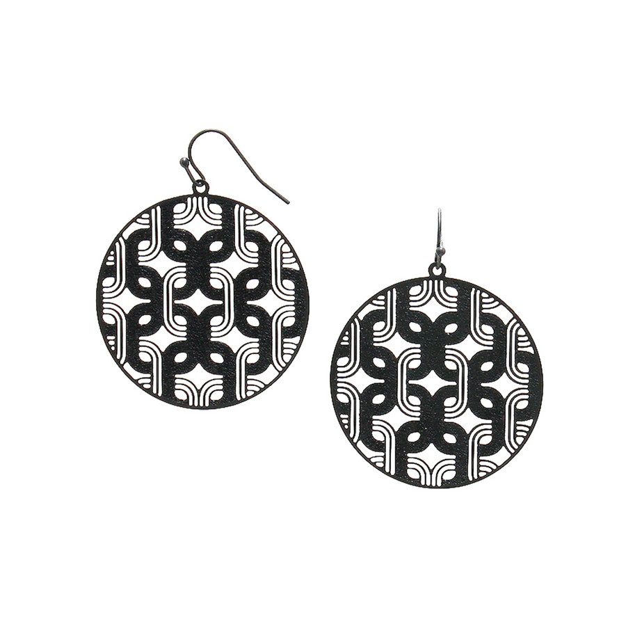 feather-light black deco circle drop earrings