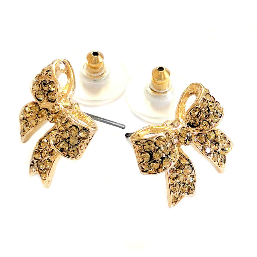 golden bow post earrings with gold crystals
