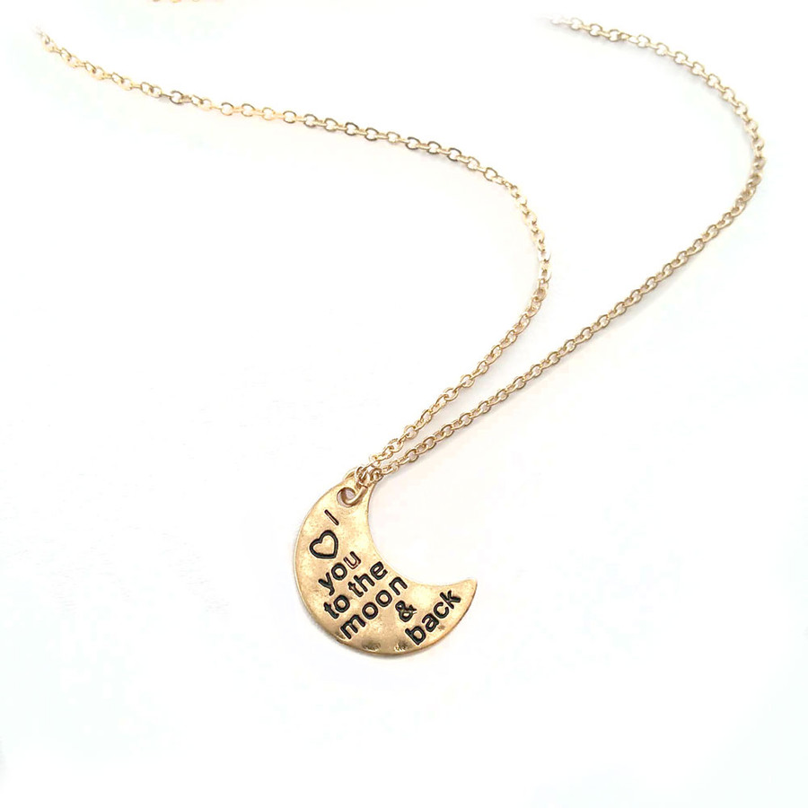 golden 'I ♡ you to the moon & back' necklace