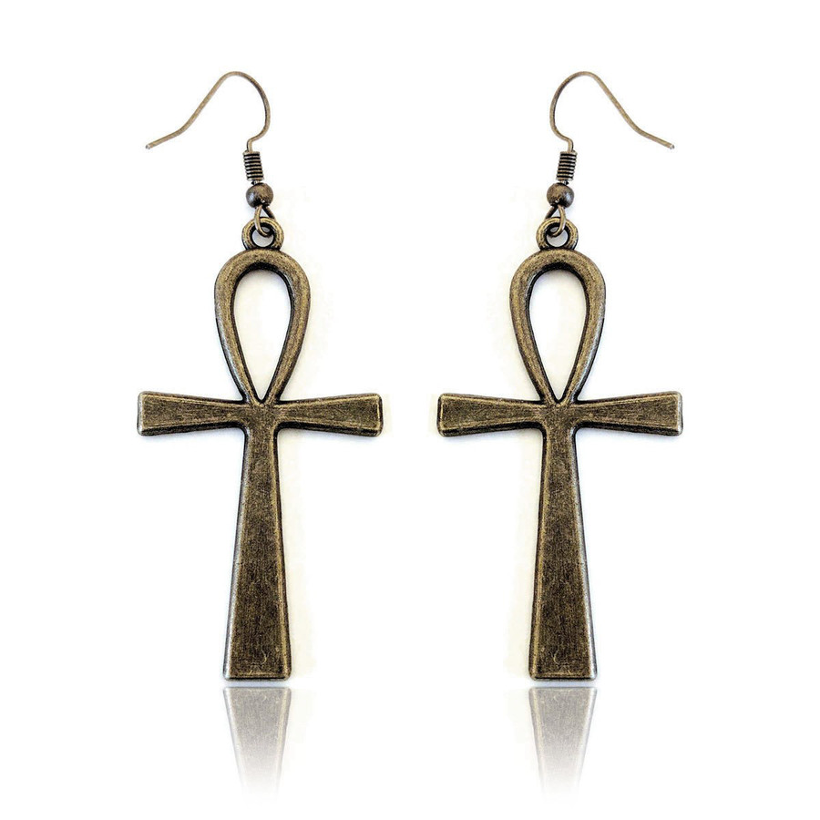 antiqued gold Egyptian ankh drop earrings