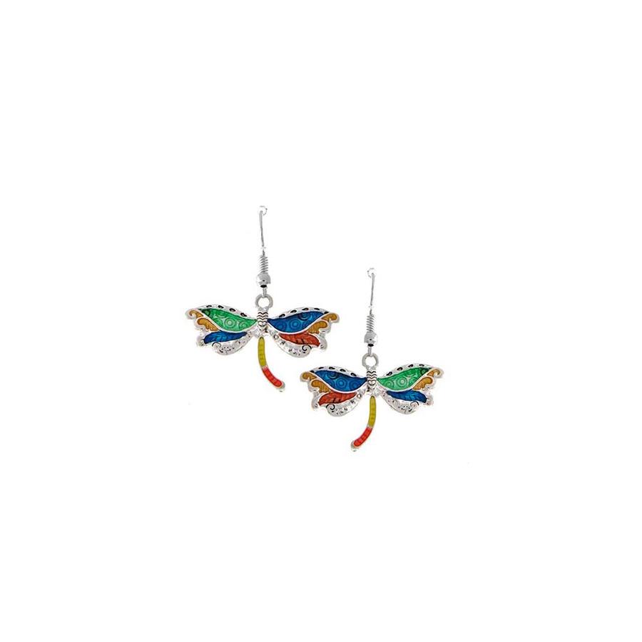 multicolored enameled dragonfly drop earrings