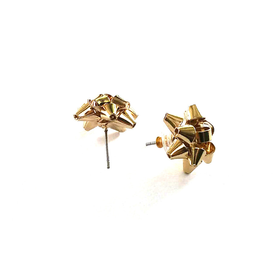 Golden Gift Bows: Metal Post Earrings
