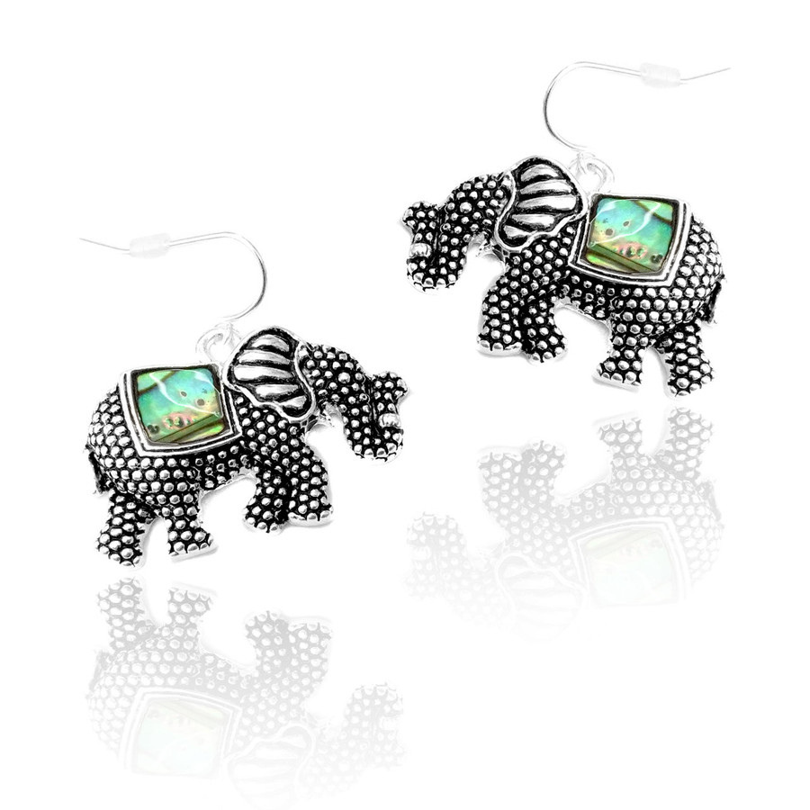 antiqued silver textured elephant drop earrings with abalone inlay