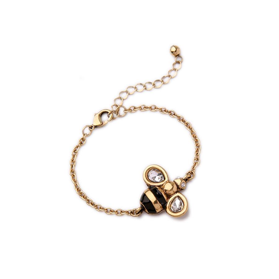 antiqued golden bee bracelet with crystal detail