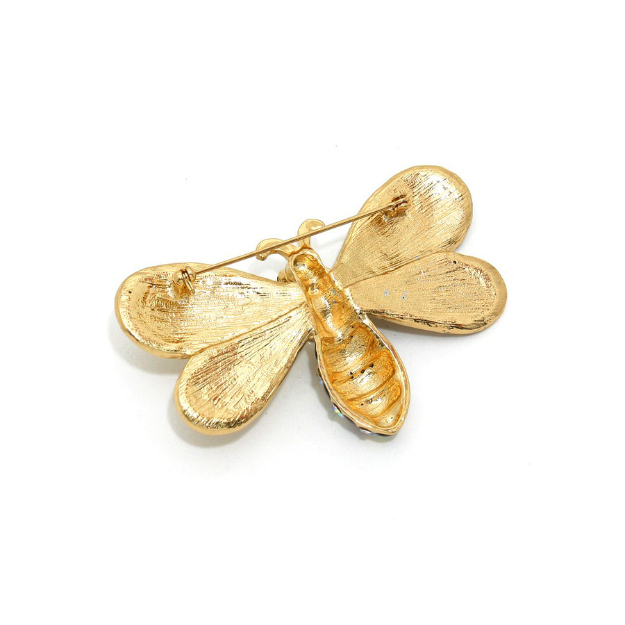 large bejeweled and enameled bright gold crystal bee pin