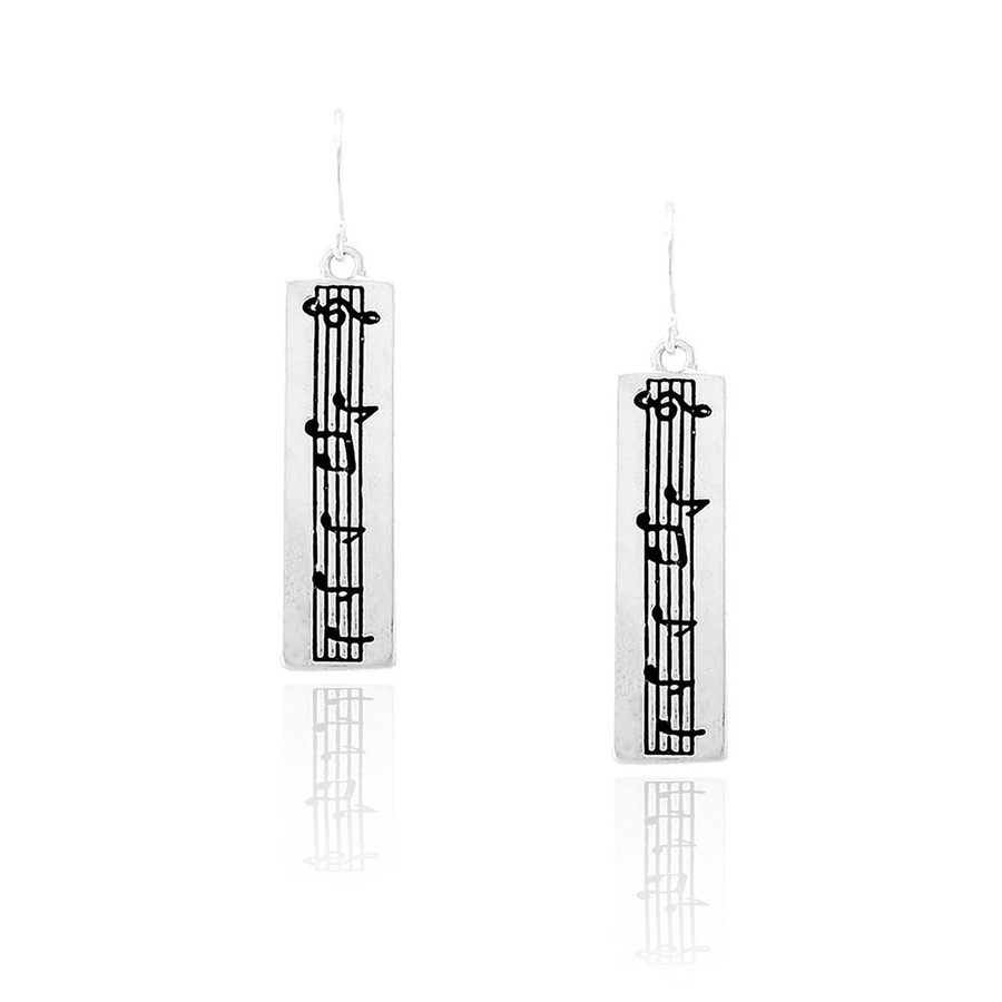 small silver rectangle sheet music drop earrings