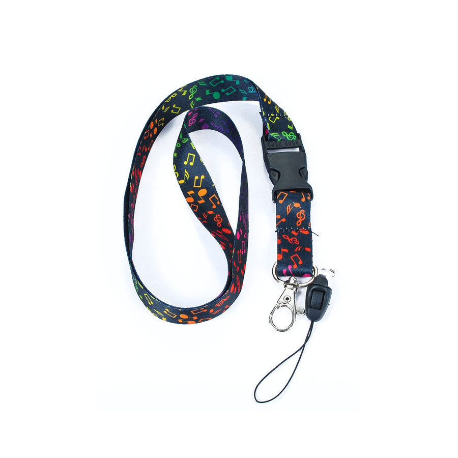 black and rainbow fabric musical lanyard necklace with quick release and id/badge/card holder