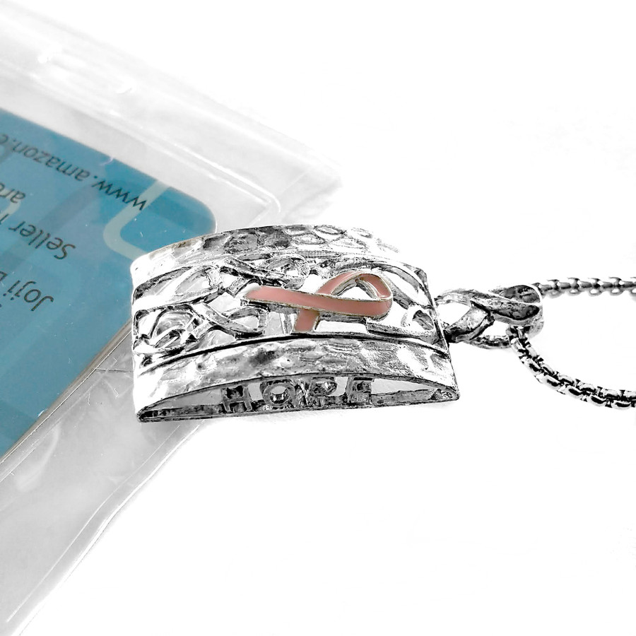 Antiqued Silver and Pink Enameled Ribbon: Lanyard Necklace with ID/Badge/Card Holder