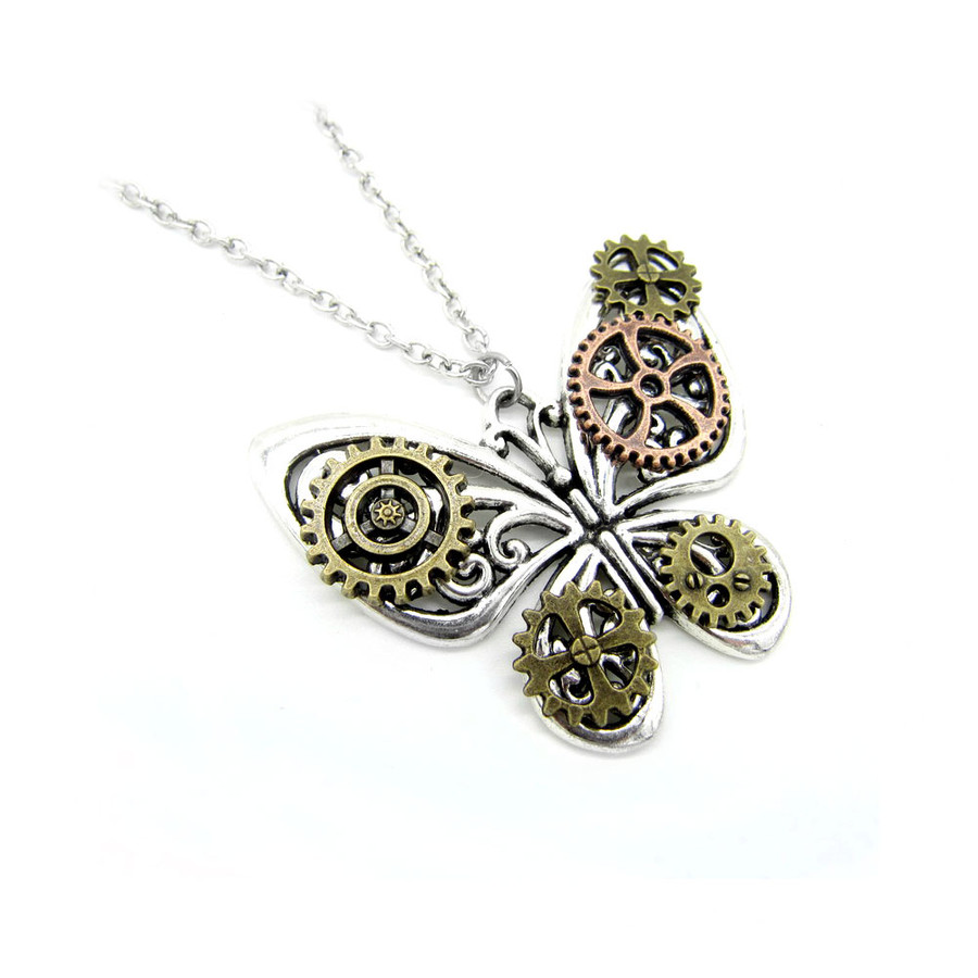 antiqued silver steampunk butterfly pendant necklace