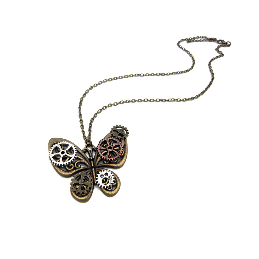 antiqued gold steampunk butterfly pendant necklace