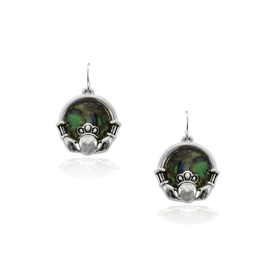 silver claddagh circle drop earrings with abalone centers