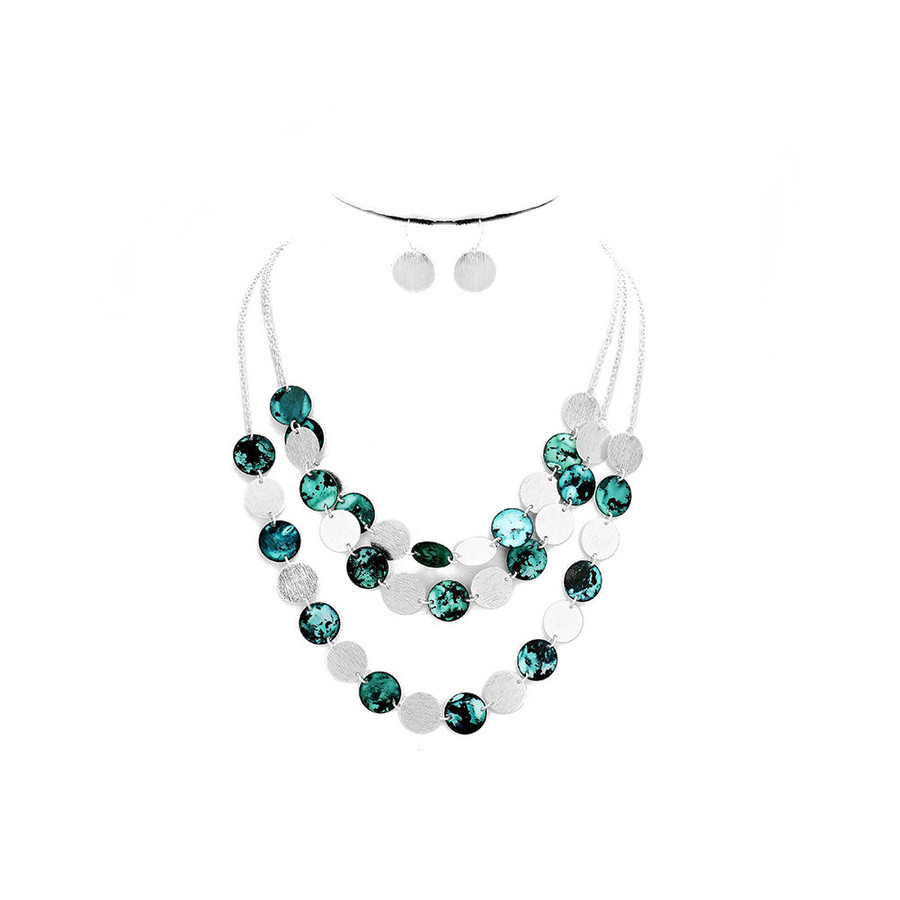 patina and silver circle triple necklace and drop earring set