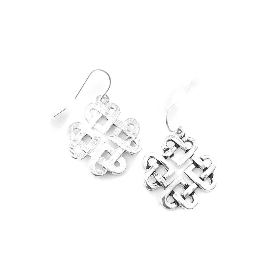 antiqued silver Celtic square knot drop earrings