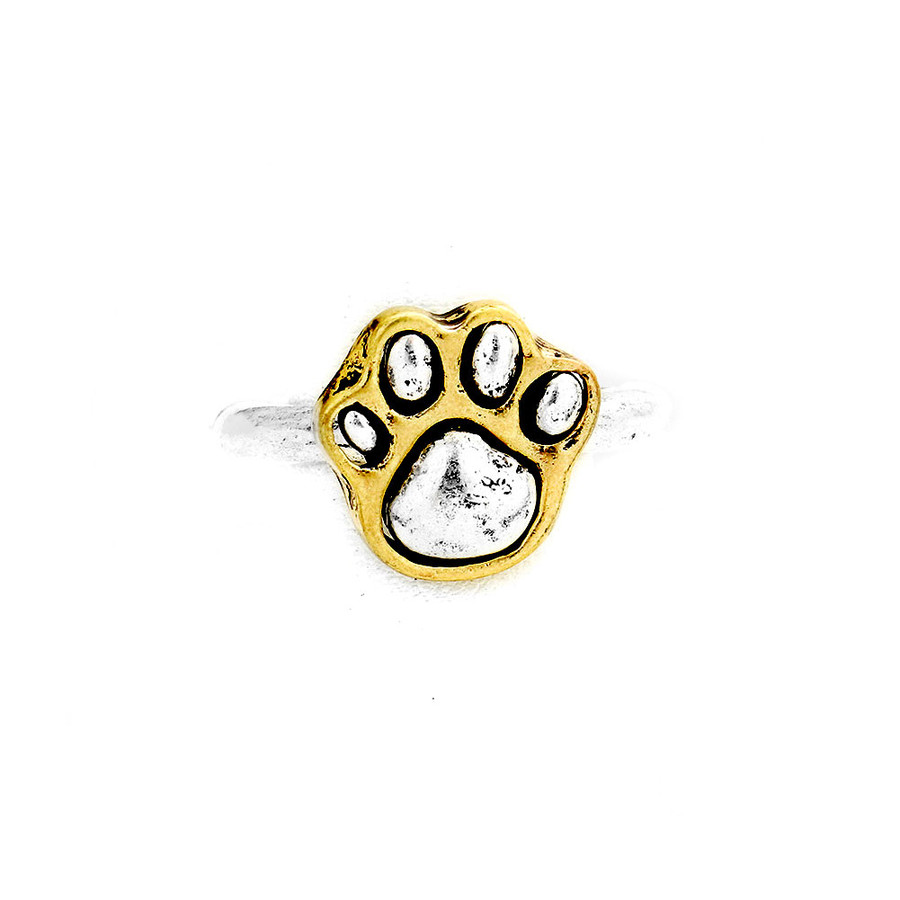 Antiqued Silver Paw Print Ring with Golden Edging