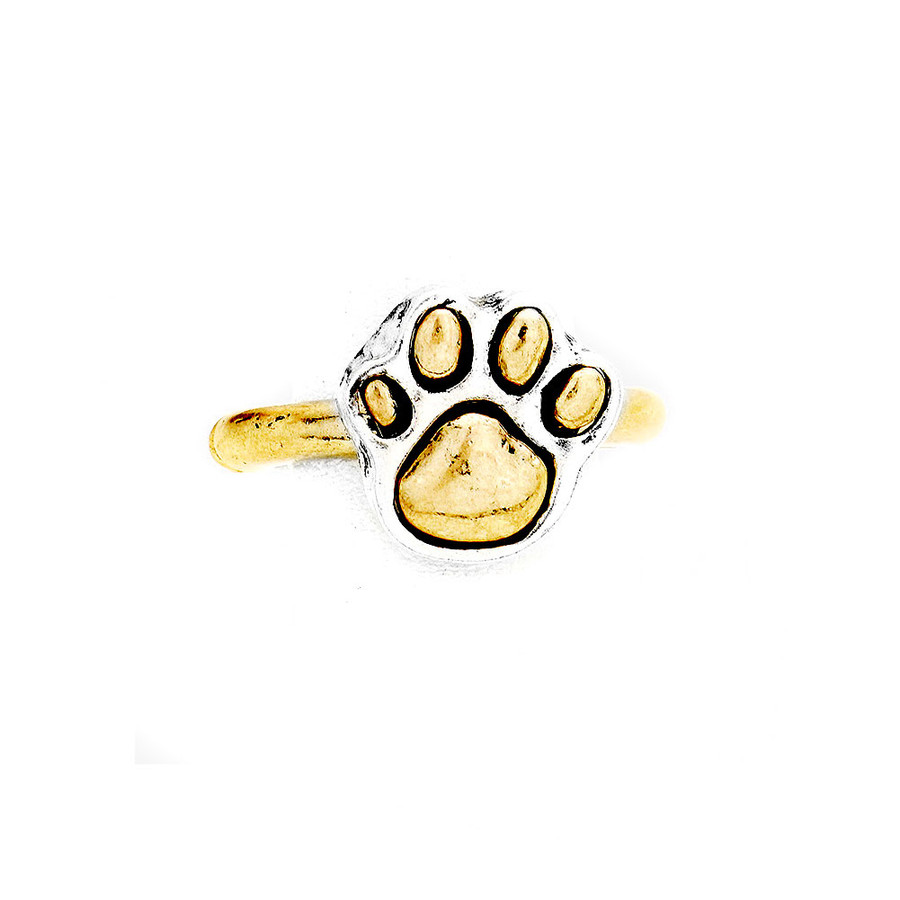 Antiqued Golden Paw Print Ring with Silver Edging
