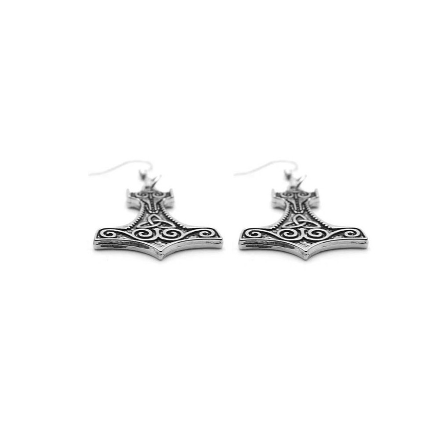 antiqued silver Viking/Thor hammer drop earrings