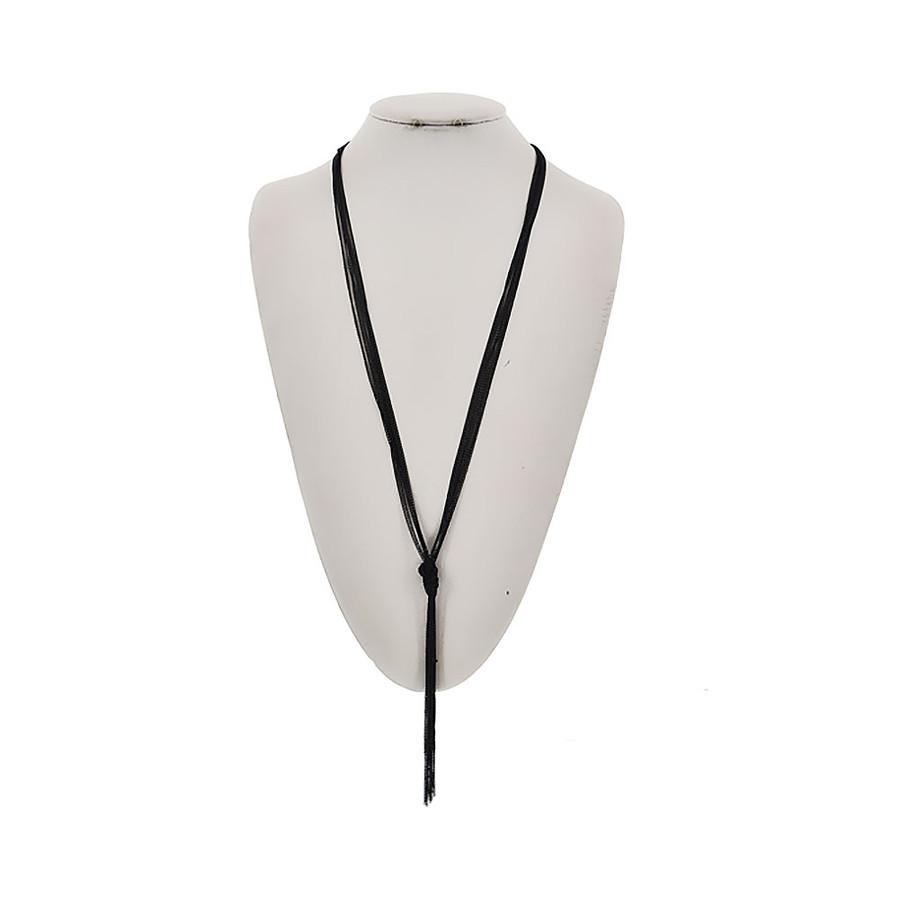 black 7-strand fine multi-chain Y-necklace