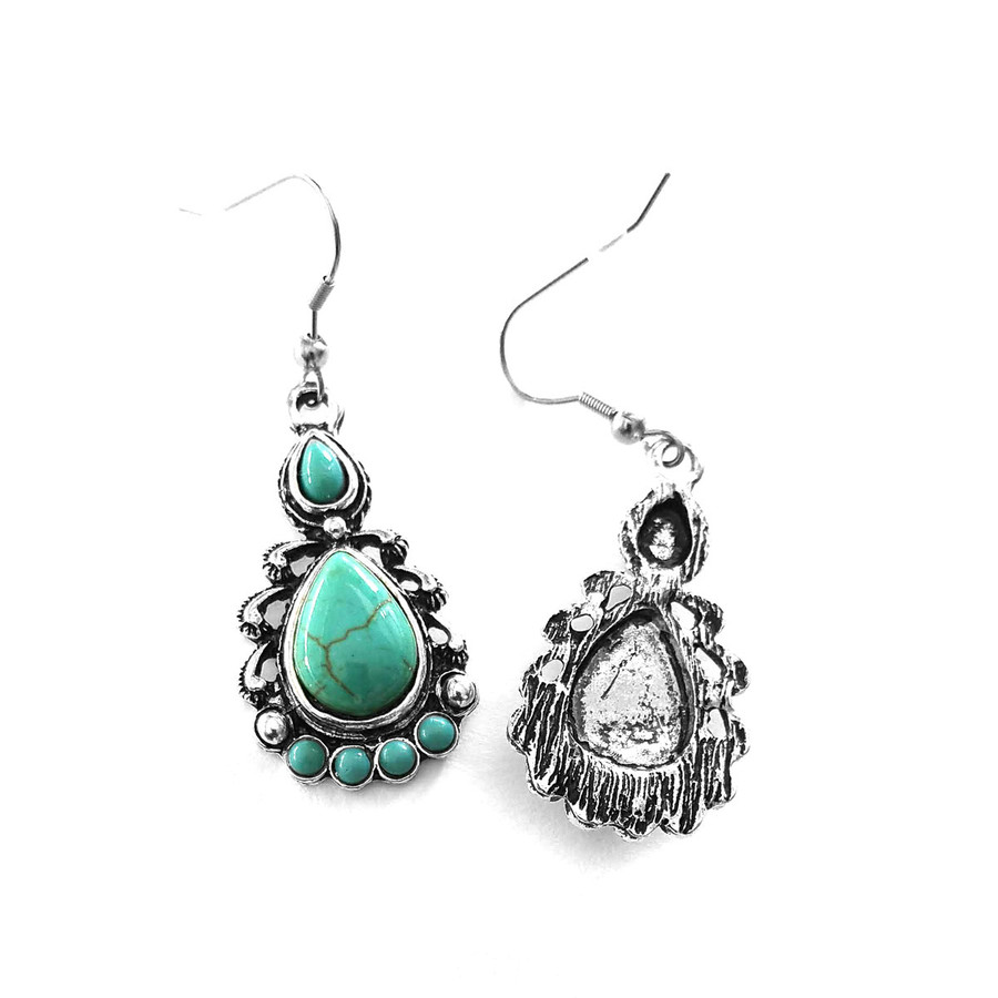 Antiqued Silver and Turquoise Teardrop Cabochon Drop Earrings