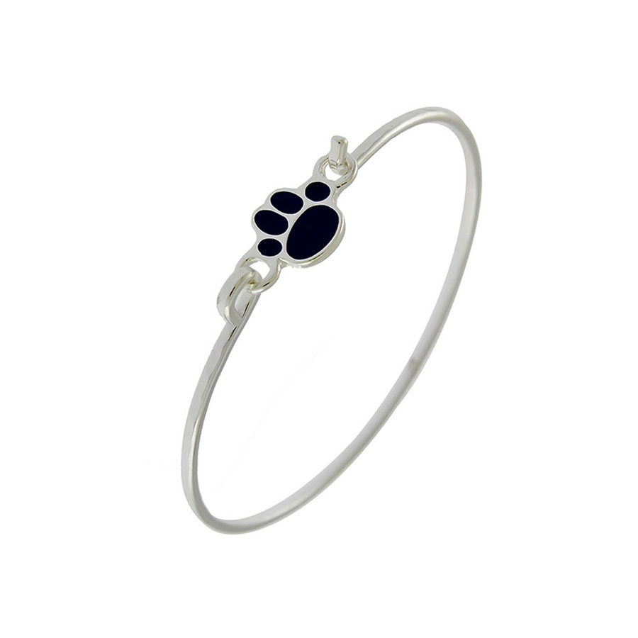Silver Bangle with Black Enameled Paw Print