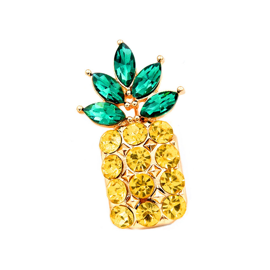 Bejeweled Golden Pineapple Pin