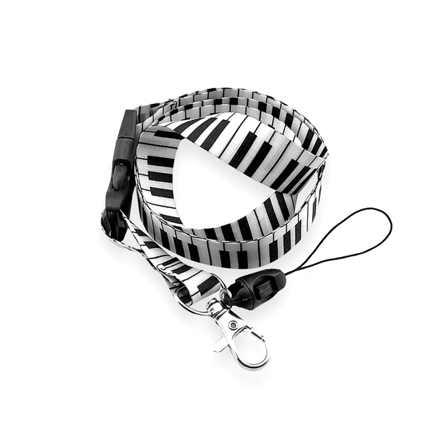 black and white piano/organ keyboard pattern fabric lanyard necklace with quick release and id/badge/card holder