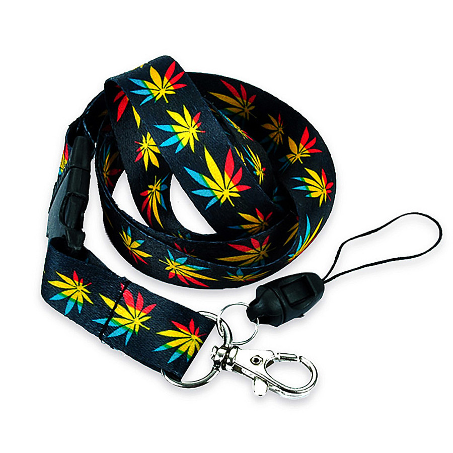 Black with Cannabis/Hemp Pattern Fabric Lanyard with Quick Release and ID/Badge/Card Holder (+Bonus Pouch)