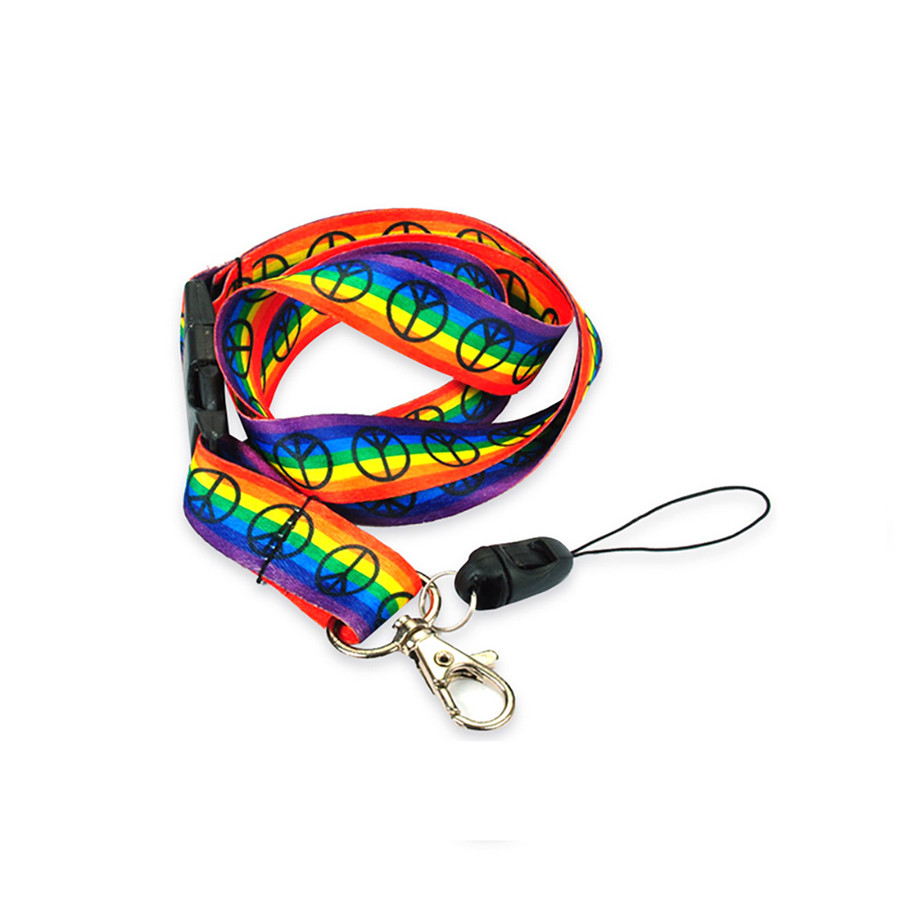 rainbow striped peace sign fabric lanyard necklace with quick release and id/badge/card holder