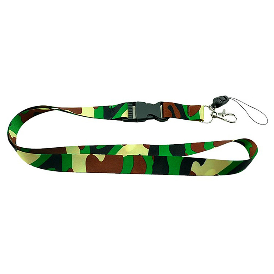 Green Camouflage Fabric Lanyard Necklace with ID/Badge/Card Holder
