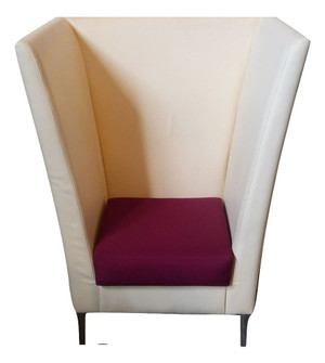 Cream Leather Effect Tall Back Chair (C35-83B-929)
