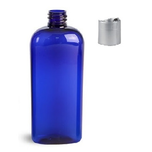 8 oz Plastic Blue Oval  Bottle