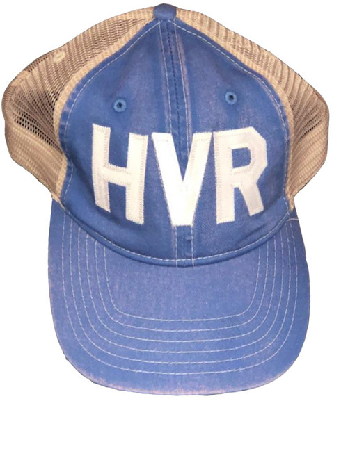 HVR Applique Hoover Area Chamber Scholarship Fund Comfort Colors Trucker Cap in Flo Blue / Ivory