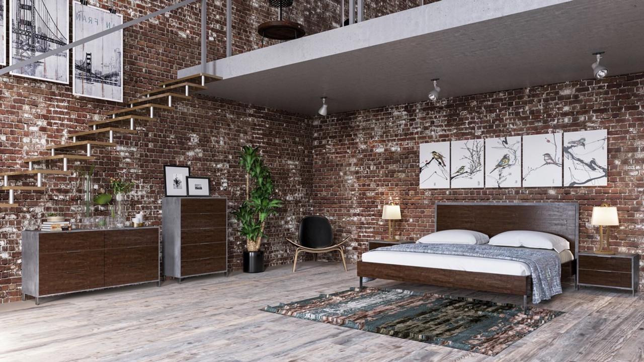 Nova Domus Conner Modern Dark Walnut & Concrete Bedroom Set - Lounge LA