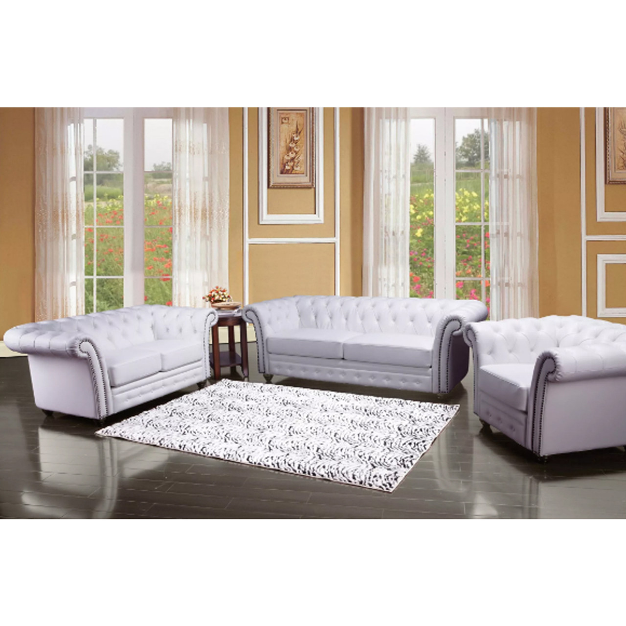 ... Camden White Bonded Leather Sofa Set