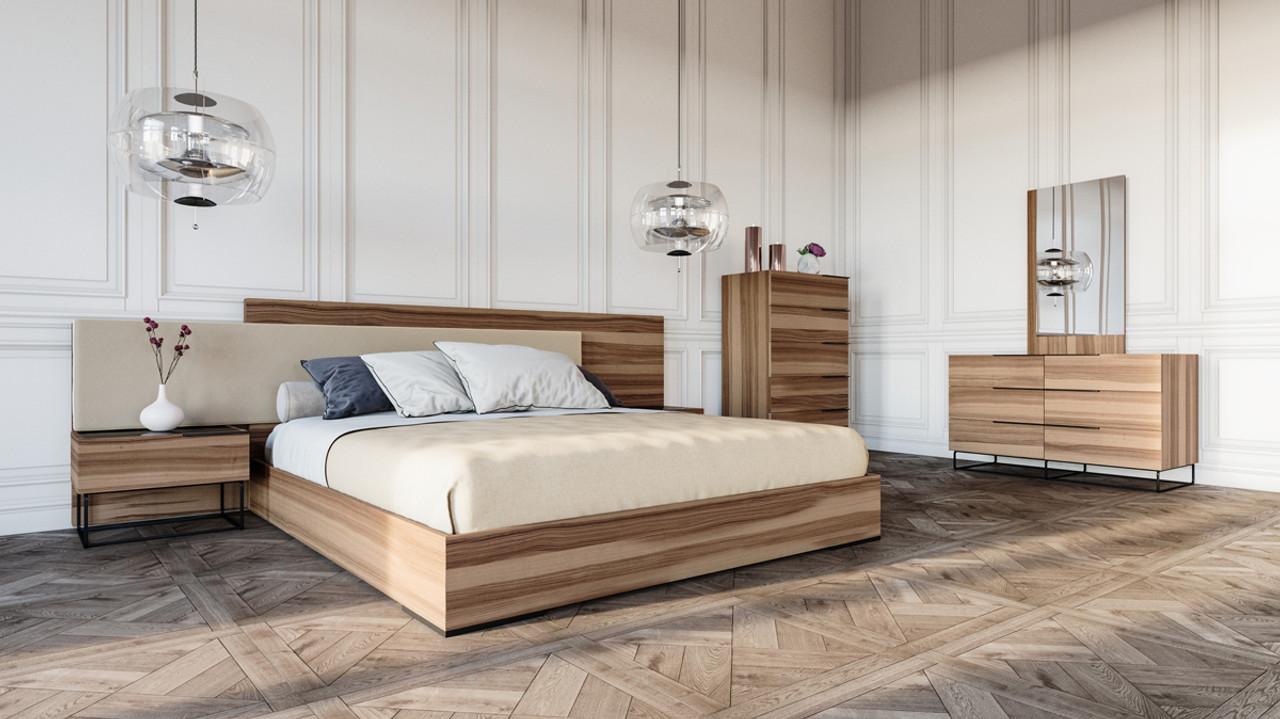 Nova Domus Matteo Italian Modern Walnut & Fabric Bedroom Set - Lounge LA
